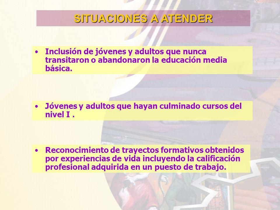 SITUACIONES A ATENDER Inclusión de jóvenes y adultos que nunca transitaron o abandonaron la educación media básica.