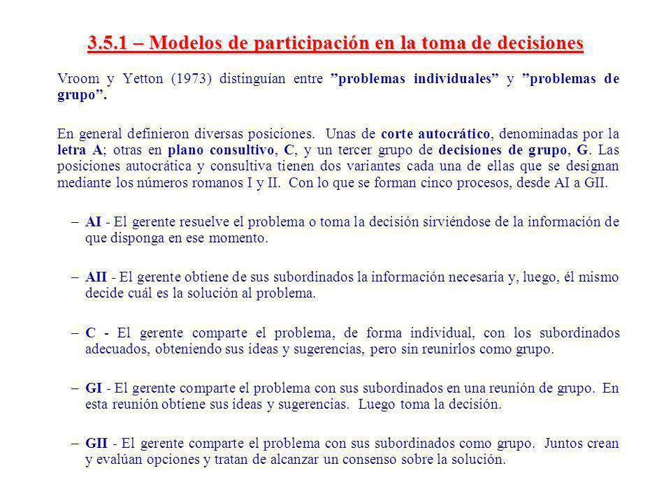 3.5.1 – Modelos de participación en la toma de decisiones
