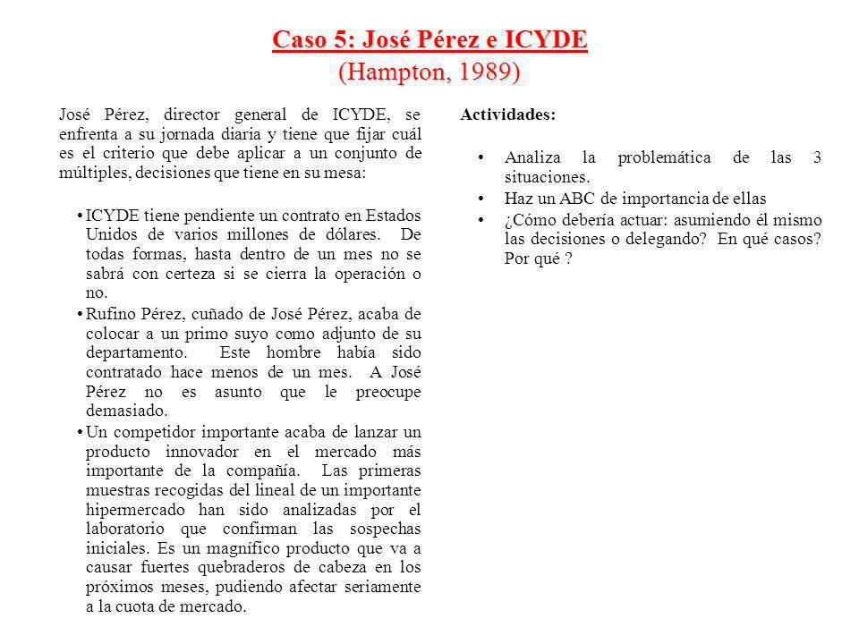 Caso 5: José Pérez e ICYDE (Hampton, 1989)