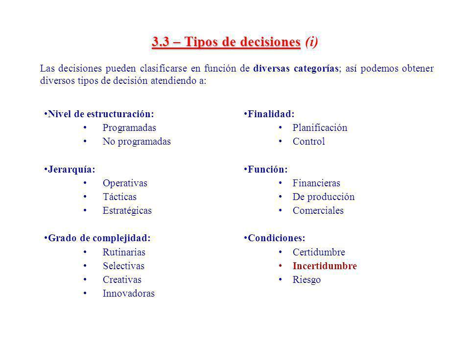 3.3 – Tipos de decisiones (i)
