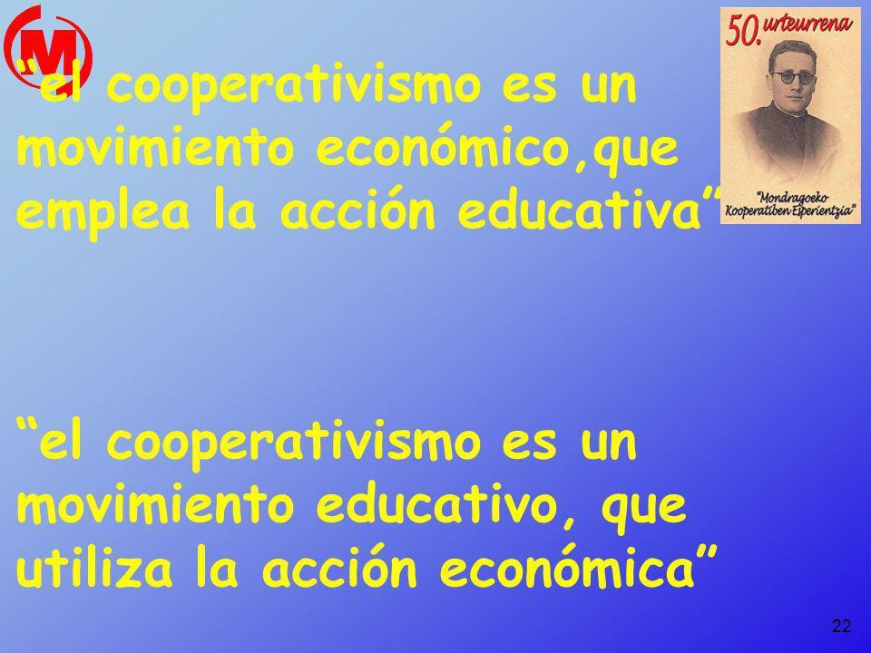 el cooperativismo es un movimiento económico,que emplea la acción educativa