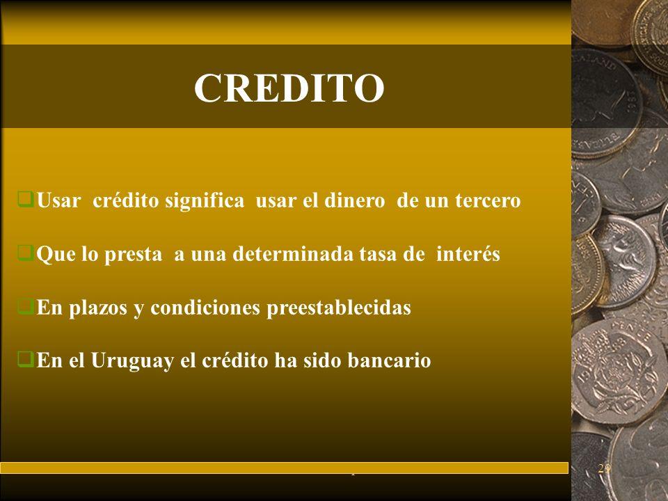 CREDITO Usar crédito significa usar el dinero de un tercero