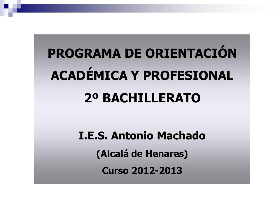 PROGRAMA DE ORIENTACIÓN ACADÉMICA Y PROFESIONAL 2º BACHILLERATO I.E.S.