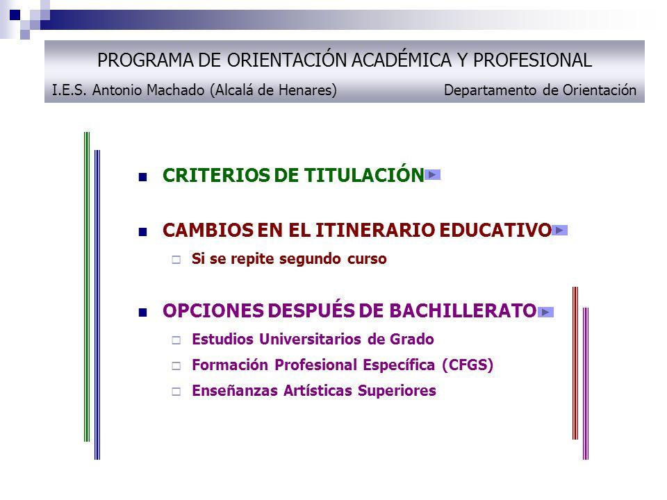 CRITERIOS DE TITULACIÓN CAMBIOS EN EL ITINERARIO EDUCATIVO
