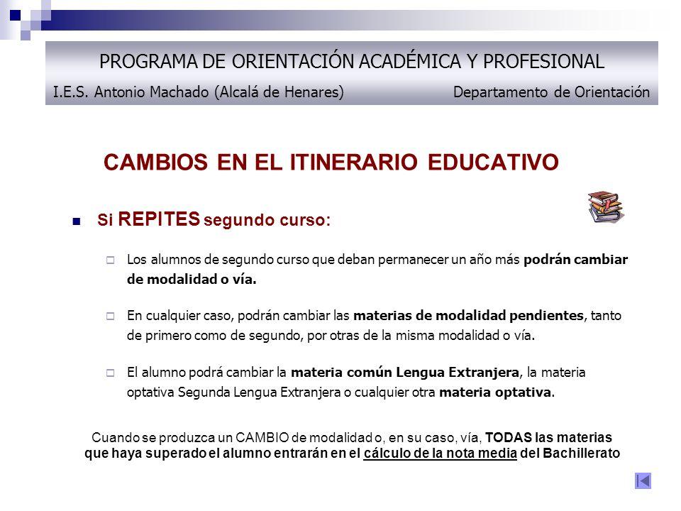 CAMBIOS EN EL ITINERARIO EDUCATIVO