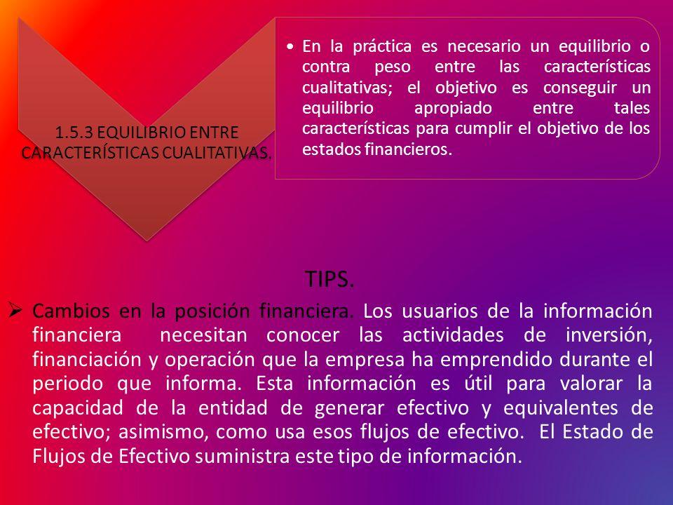 1.5.3 EQUILIBRIO ENTRE CARACTERÍSTICAS CUALITATIVAS.