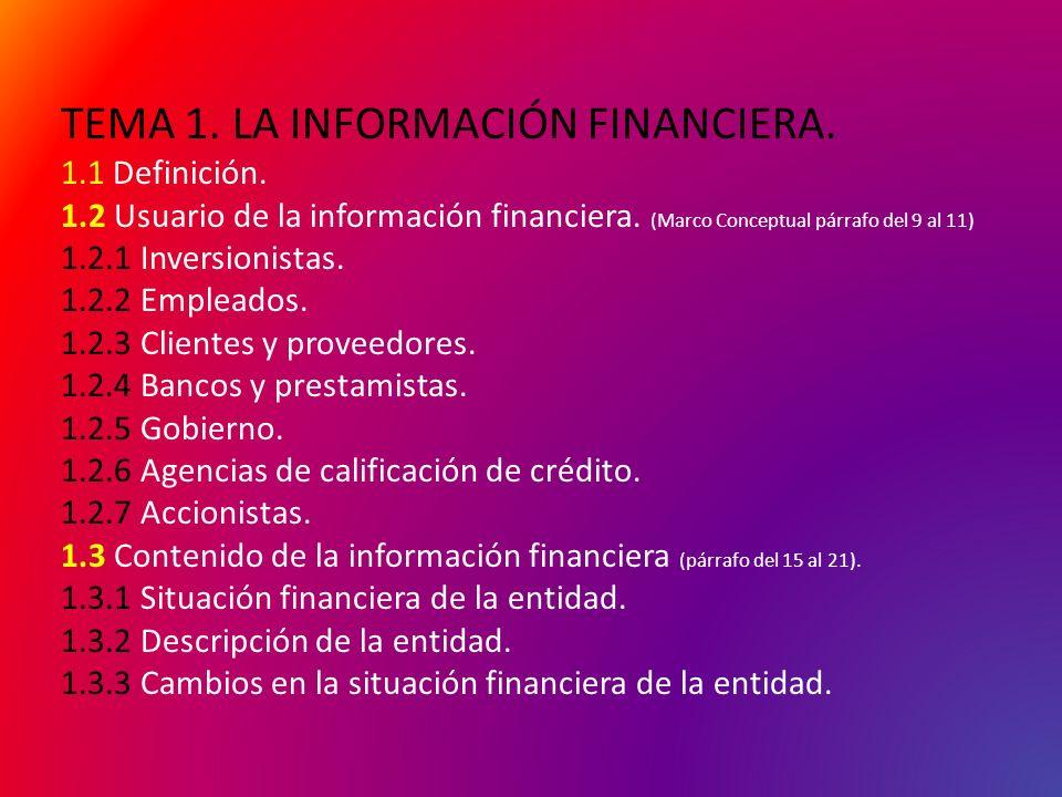TEMA 1. LA INFORMACIÓN FINANCIERA. 1. 1 Definición. 1