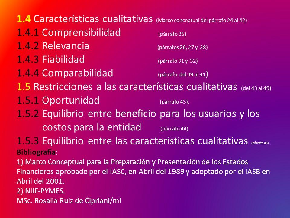 1.4 Características cualitativas (Marco conceptual del párrafo 24 al 42) 1.4.1 Comprensibilidad (párrafo 25) 1.4.2 Relevancia (párrafos 26, 27 y 28) 1.4.3 Fiabilidad (párrafo 31 y 32) 1.4.4 Comparabilidad (párrafo del 39 al 41) 1.5 Restricciones a las características cualitativas (del 43 al 49) 1.5.1 Oportunidad (párrafo 43).