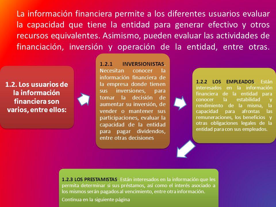 La información financiera permite a los diferentes usuarios evaluar la capacidad que tiene la entidad para generar efectivo y otros recursos equivalentes. Asimismo, pueden evaluar las actividades de financiación, inversión y operación de la entidad, entre otras. C