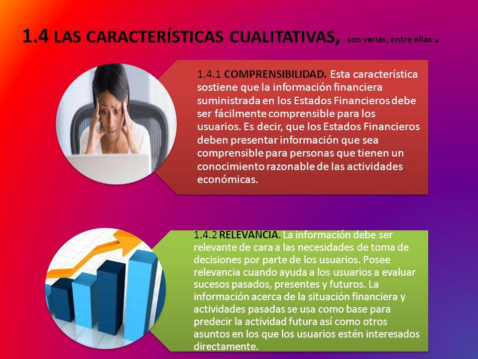 1.4 LAS CARACTERÍSTICAS CUALITATIVAS, son varias, entre ellas:.