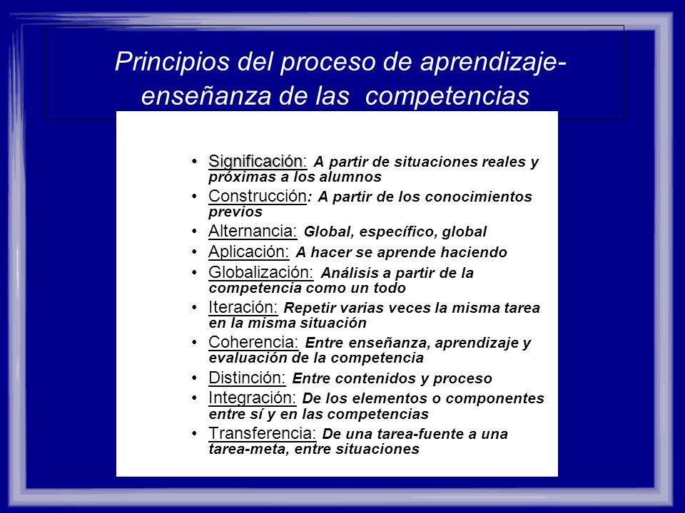 Principios del proceso de aprendizaje-enseñanza de las competencias