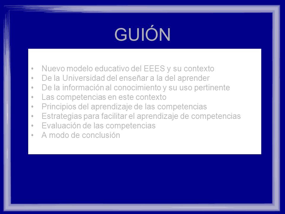 GUIÓN Nuevo modelo educativo del EEES y su contexto
