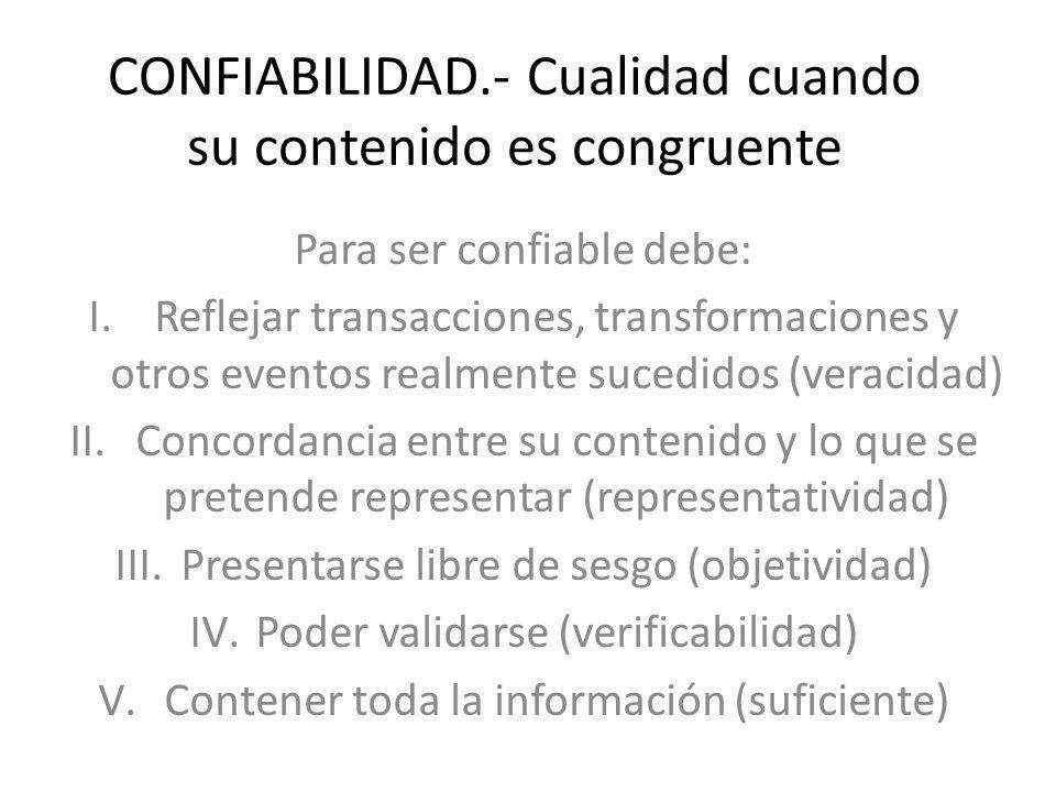 CONFIABILIDAD.- Cualidad cuando su contenido es congruente
