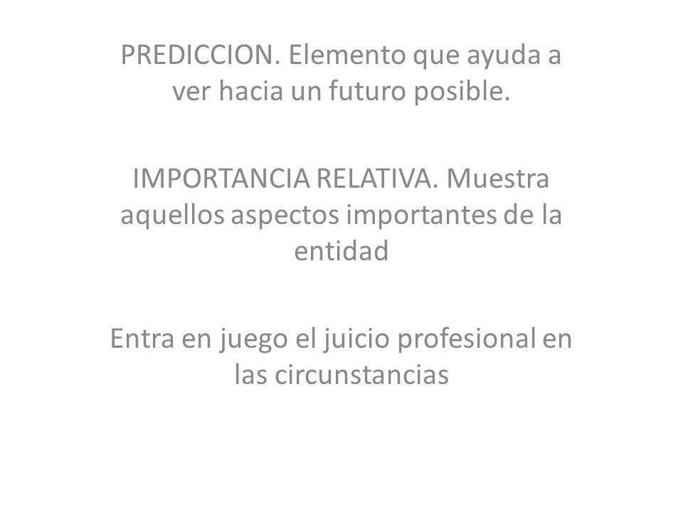 PREDICCION. Elemento que ayuda a ver hacia un futuro posible.