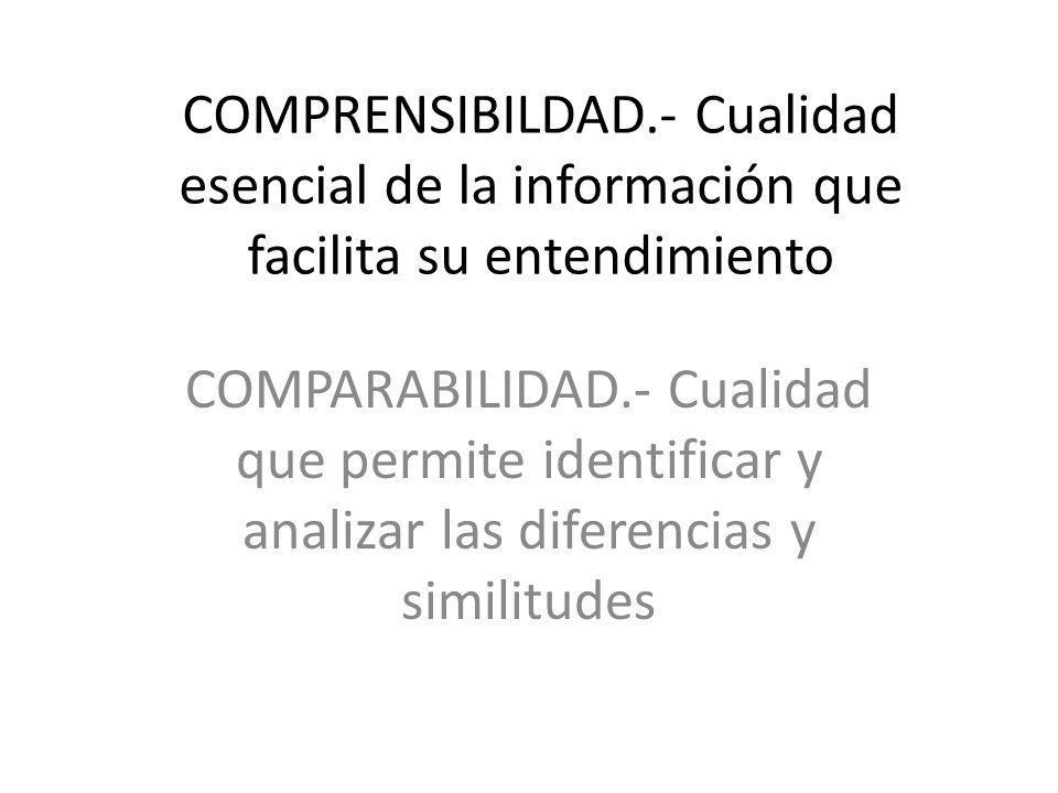 COMPRENSIBILDAD.- Cualidad esencial de la información que facilita su entendimiento