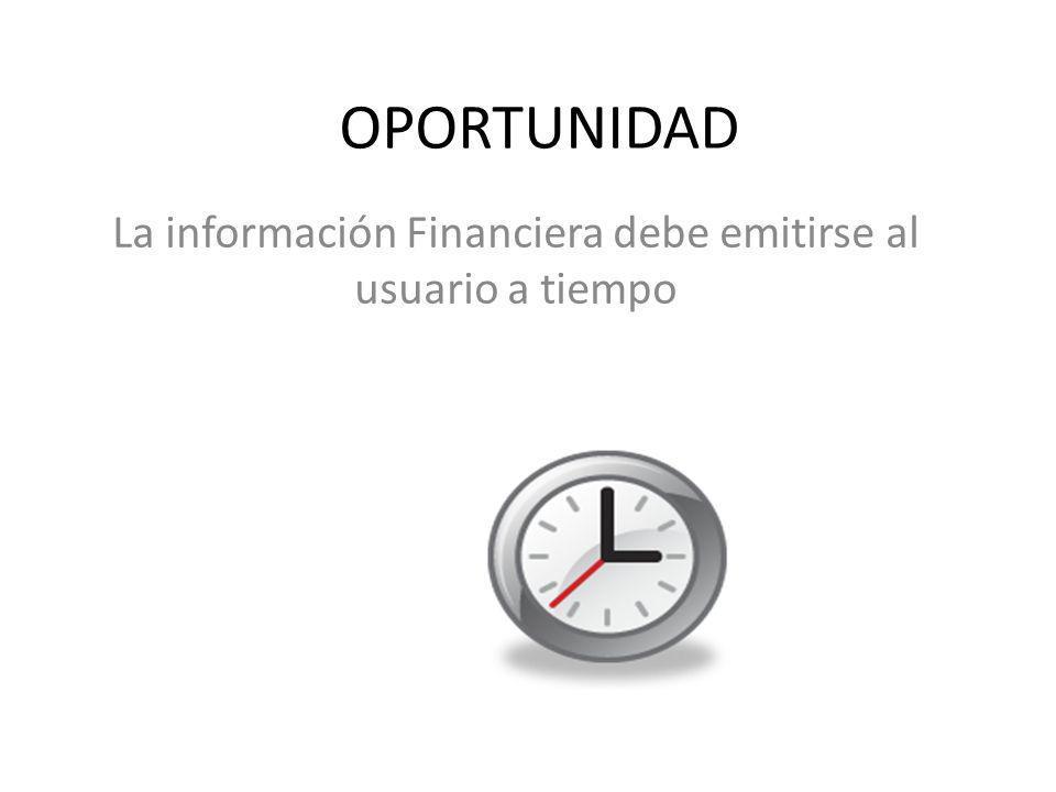 La información Financiera debe emitirse al usuario a tiempo