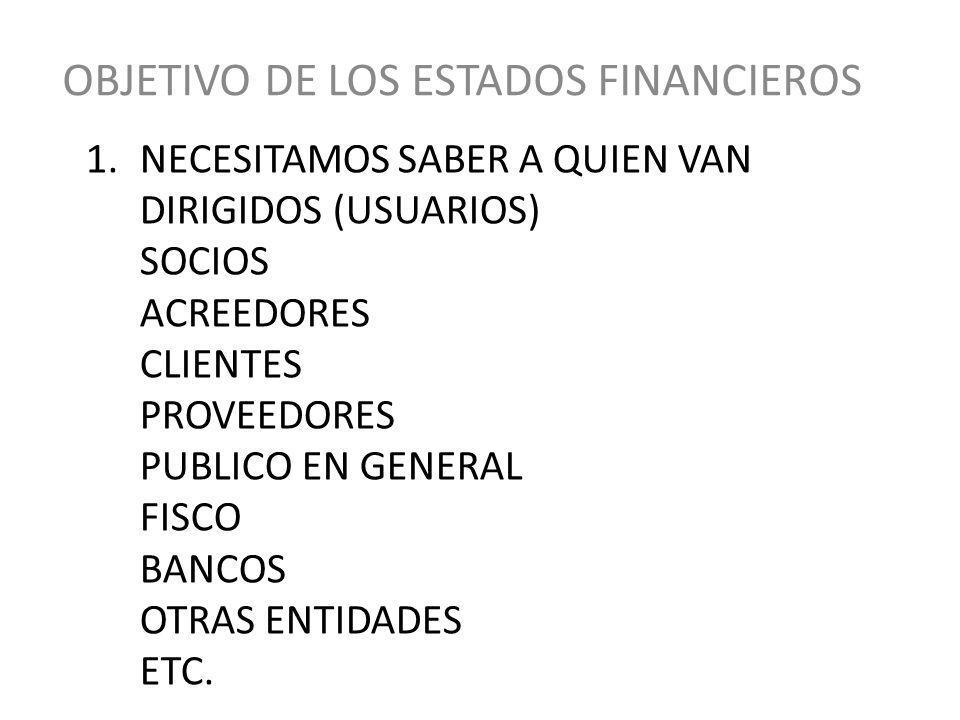OBJETIVO DE LOS ESTADOS FINANCIEROS