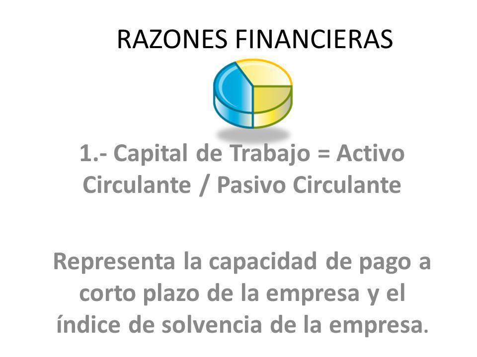 1.- Capital de Trabajo = Activo Circulante / Pasivo Circulante