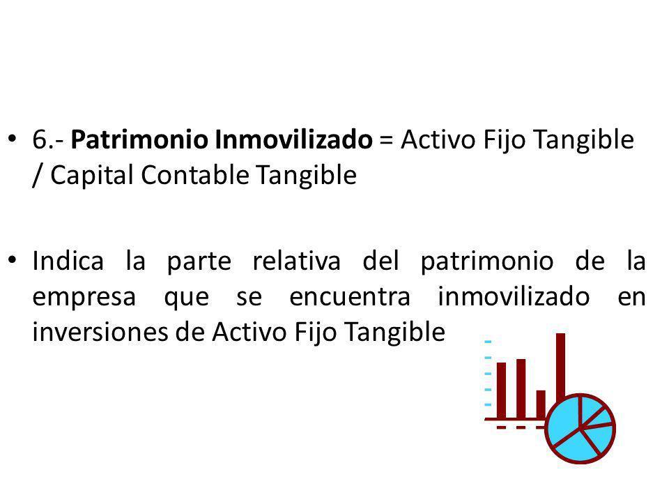 6.- Patrimonio Inmovilizado = Activo Fijo Tangible / Capital Contable Tangible