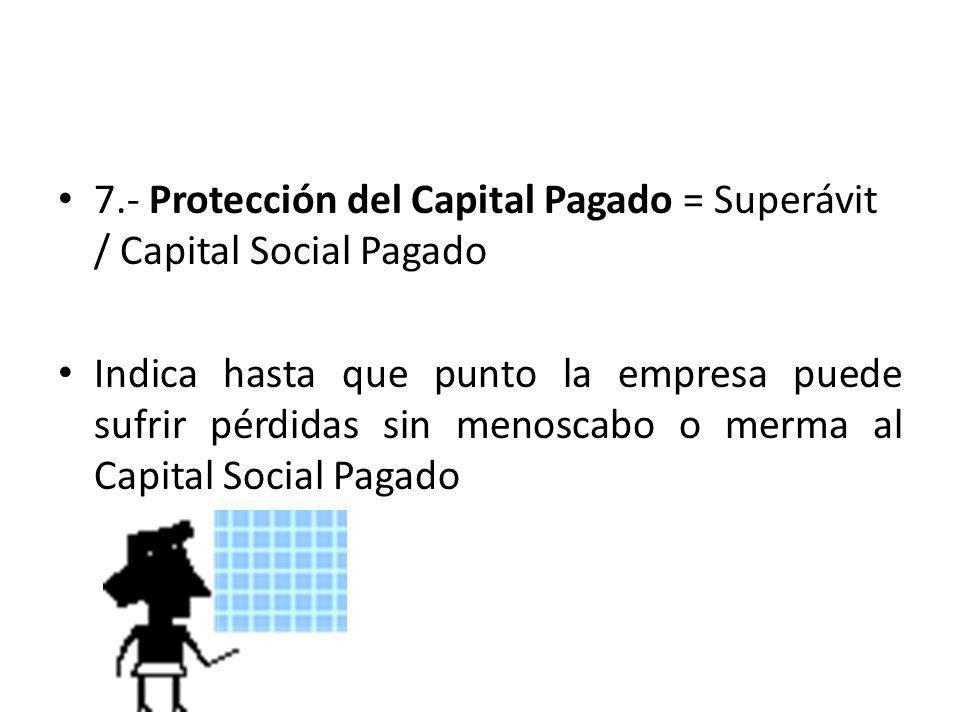 7.- Protección del Capital Pagado = Superávit / Capital Social Pagado