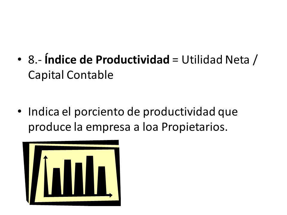8.- Índice de Productividad = Utilidad Neta / Capital Contable