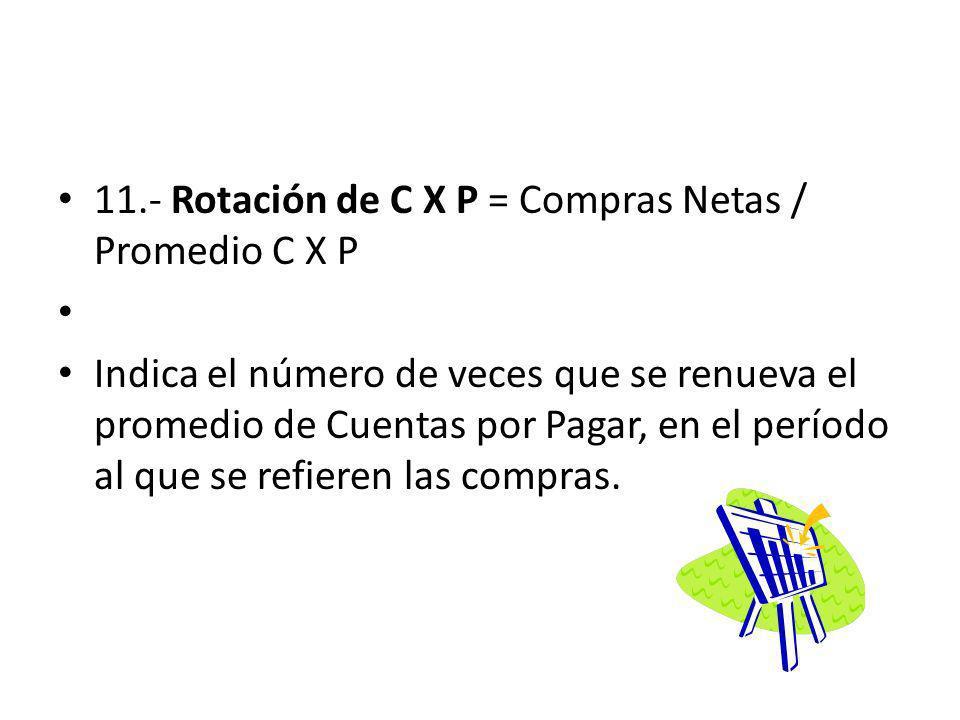 11.- Rotación de C X P = Compras Netas / Promedio C X P