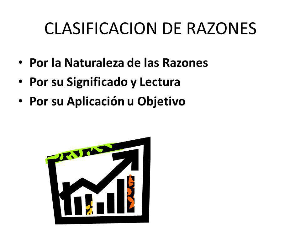 CLASIFICACION DE RAZONES