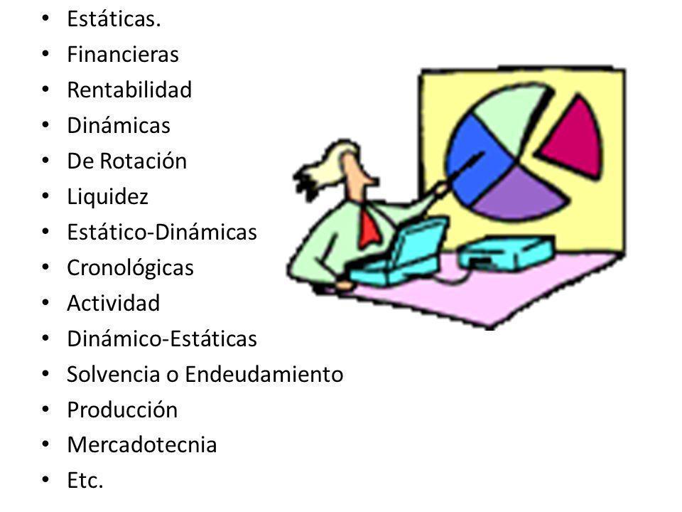 Estáticas. Financieras. Rentabilidad. Dinámicas. De Rotación. Liquidez. Estático-Dinámicas. Cronológicas.
