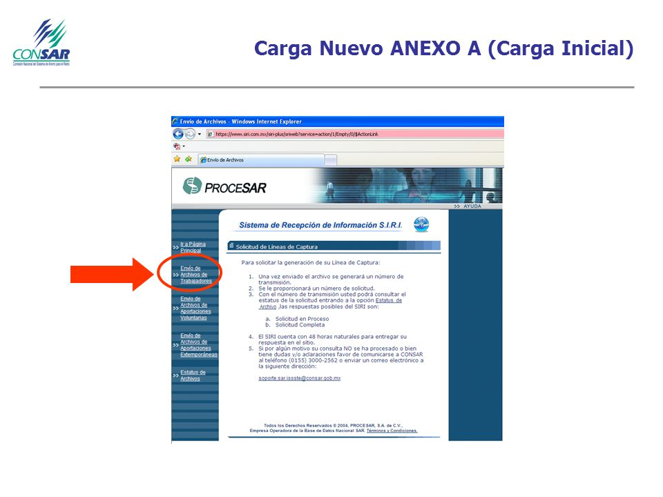 Carga Nuevo ANEXO A (Carga Inicial)