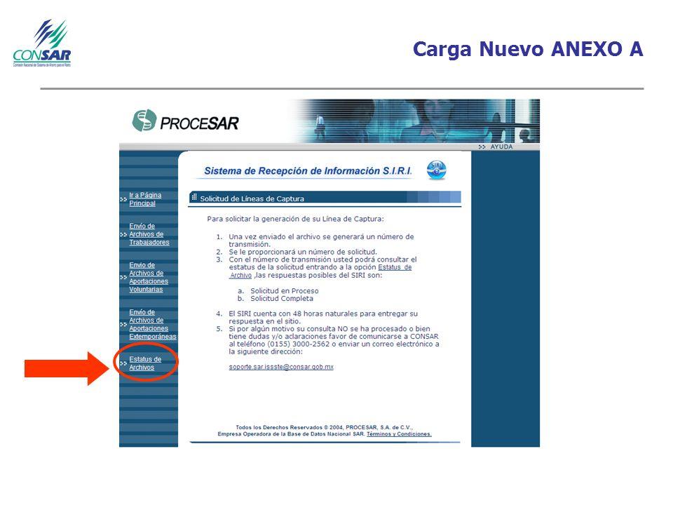 Carga Nuevo ANEXO A