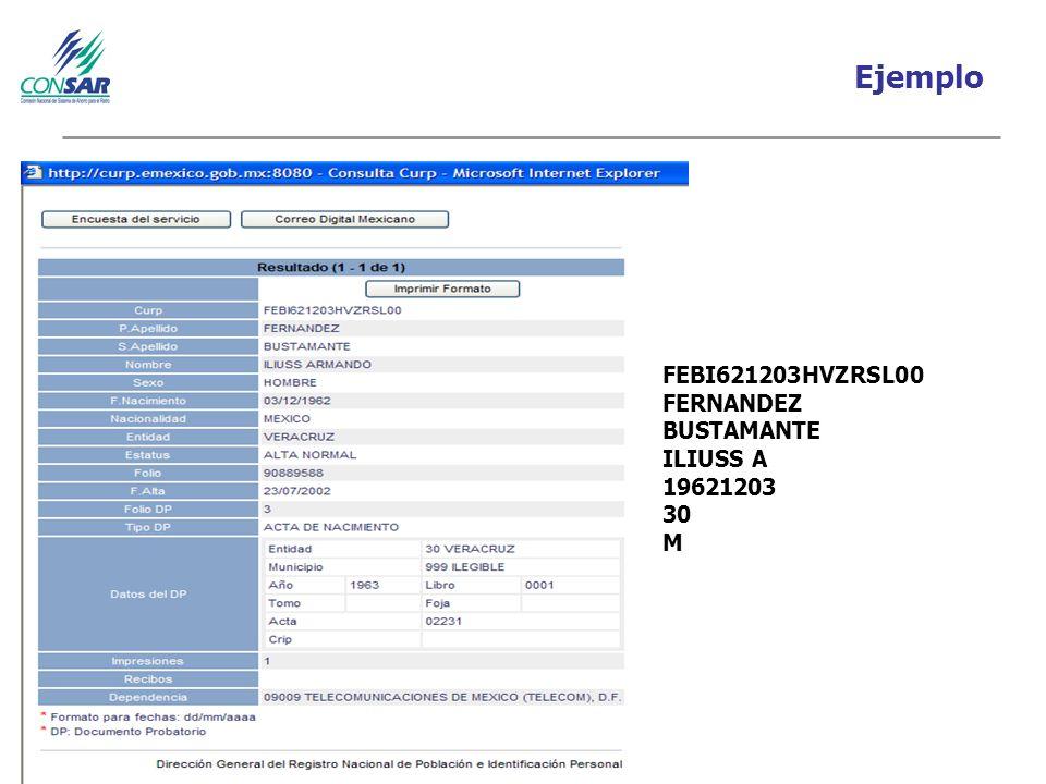 Ejemplo FEBI621203HVZRSL00 FERNANDEZ BUSTAMANTE ILIUSS A 19621203 30 M