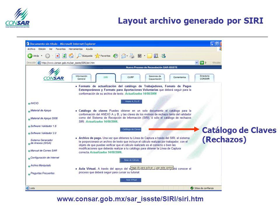Layout archivo generado por SIRI