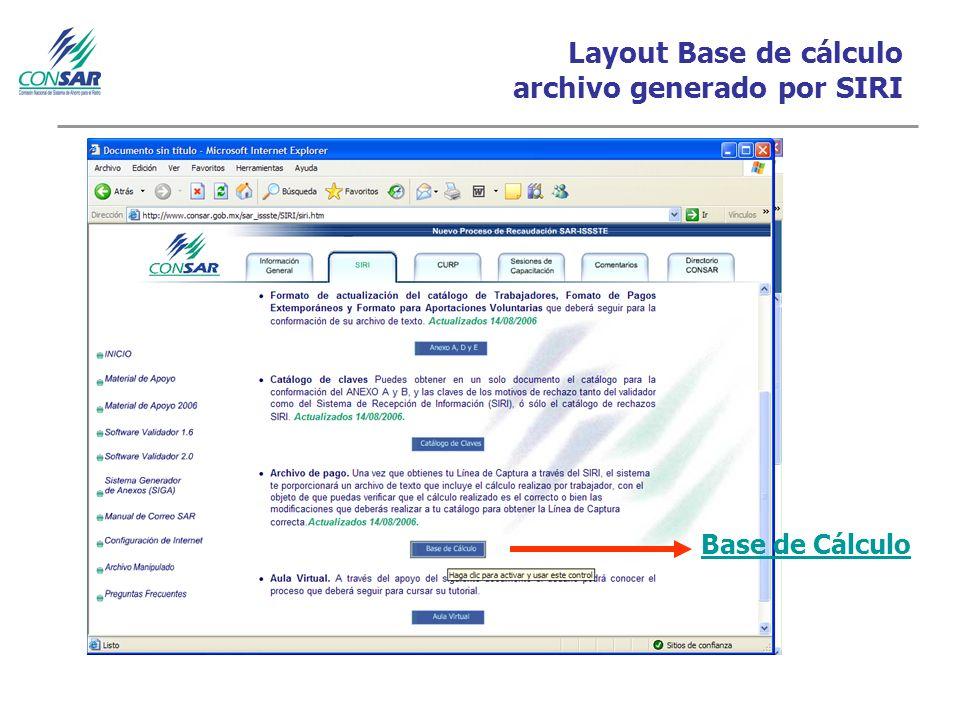 Layout Base de cálculo archivo generado por SIRI