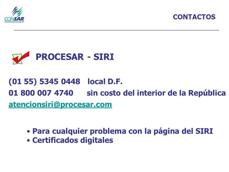 PROCESAR - SIRI (01 55) 5345 0448 local D.F.