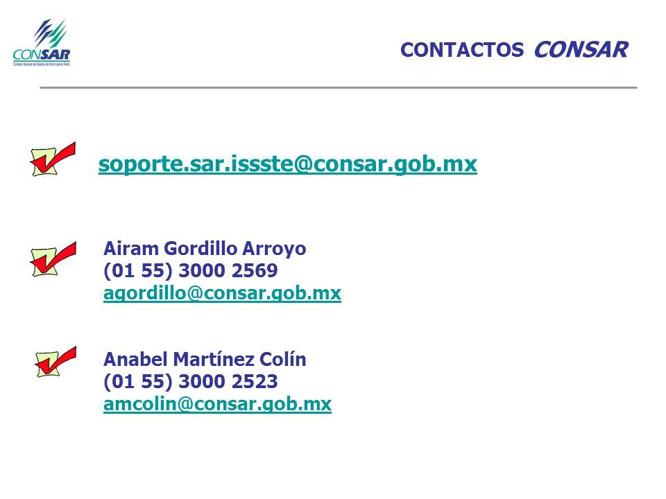 soporte.sar.issste@consar.gob.mx CONTACTOS CONSAR