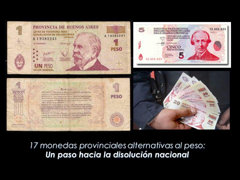 17 monedas provinciales alternativas al peso: Un paso hacia la disolución nacional
