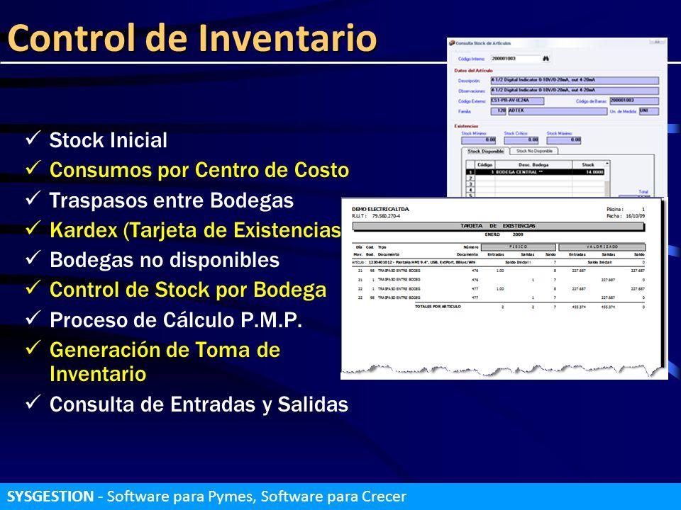 Control de Inventario Stock Inicial Consumos por Centro de Costo