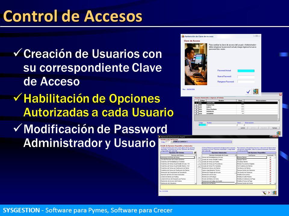 Control de Accesos Creación de Usuarios con su correspondiente Clave de Acceso. Habilitación de Opciones Autorizadas a cada Usuario.