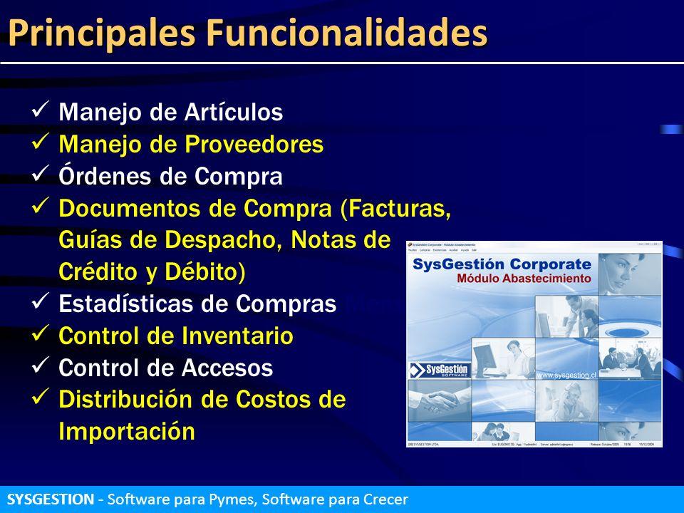 Principales Funcionalidades