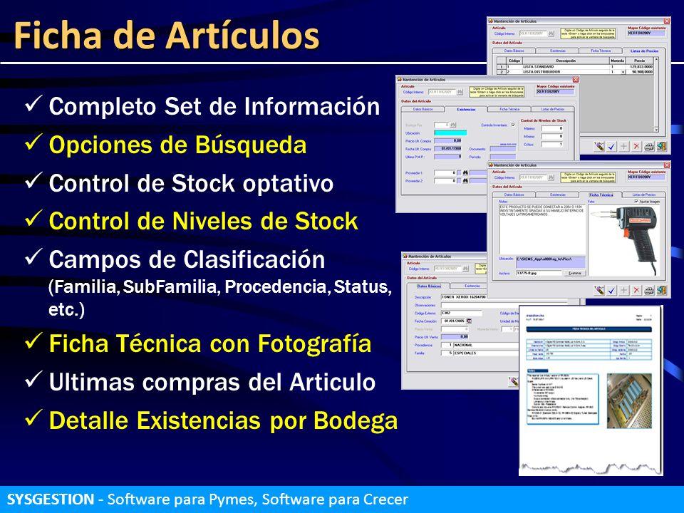 Ficha de Artículos Completo Set de Información Opciones de Búsqueda
