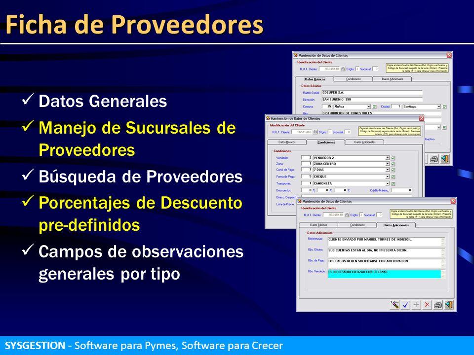 Ficha de Proveedores Datos Generales