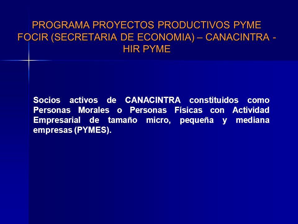 PROGRAMA PROYECTOS PRODUCTIVOS PYME FOCIR (SECRETARIA DE ECONOMIA) – CANACINTRA - HIR PYME