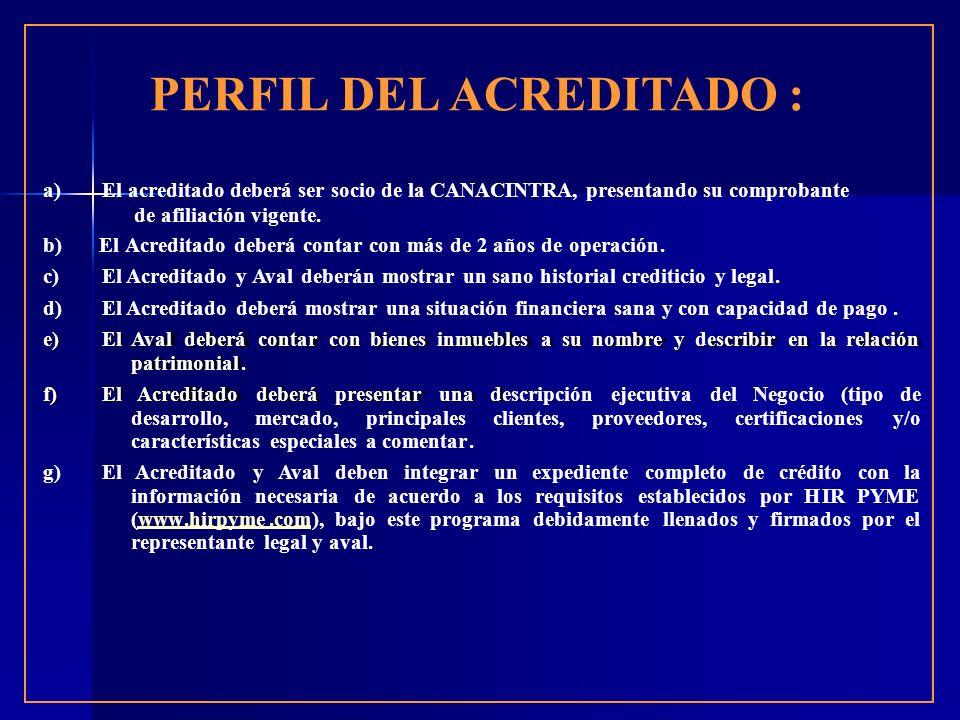 PERFIL DEL ACREDITADO : a)