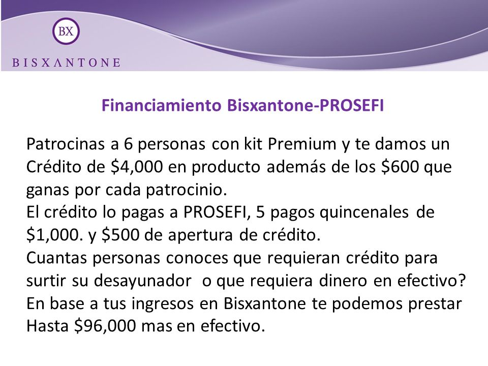 Financiamiento Bisxantone-PROSEFI