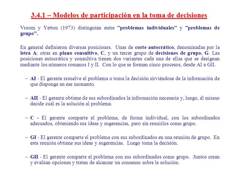 3.4.1 – Modelos de participación en la toma de decisiones