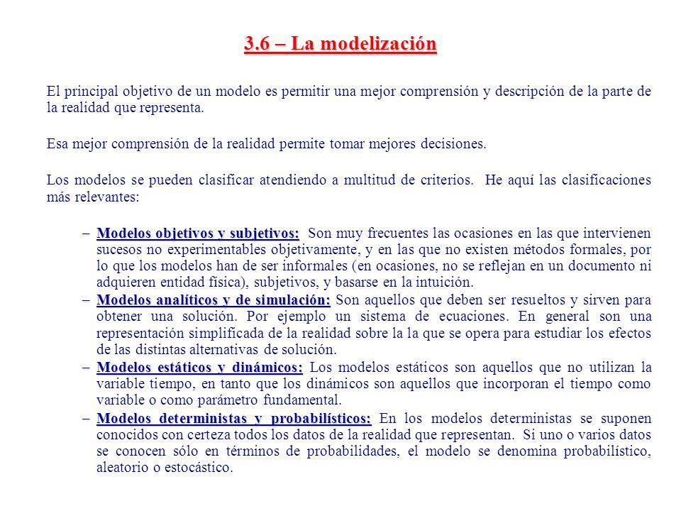 3.6 – La modelización El principal objetivo de un modelo es permitir una mejor comprensión y descripción de la parte de la realidad que representa.