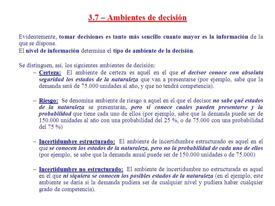 3.7 – Ambientes de decisión
