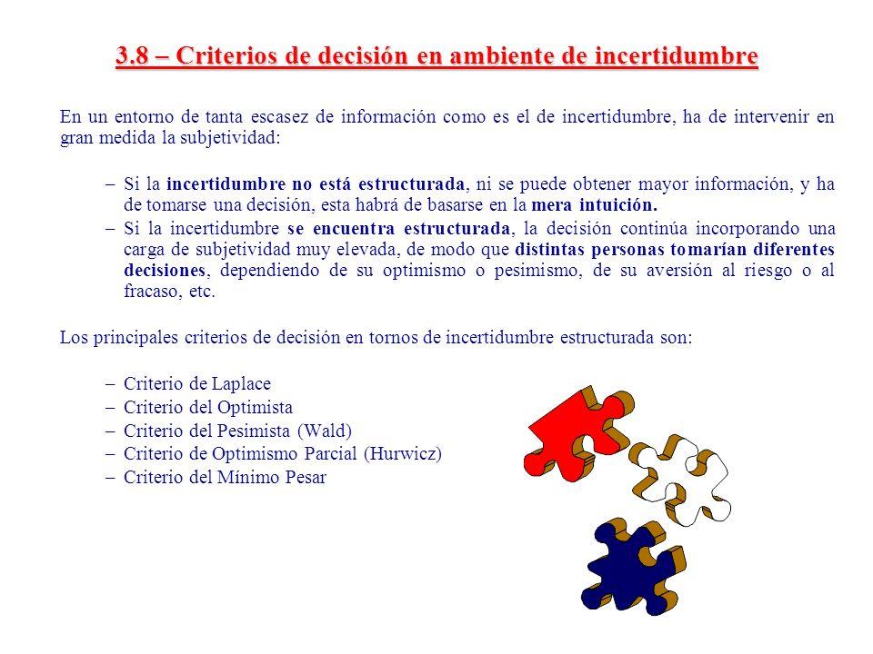 3.8 – Criterios de decisión en ambiente de incertidumbre