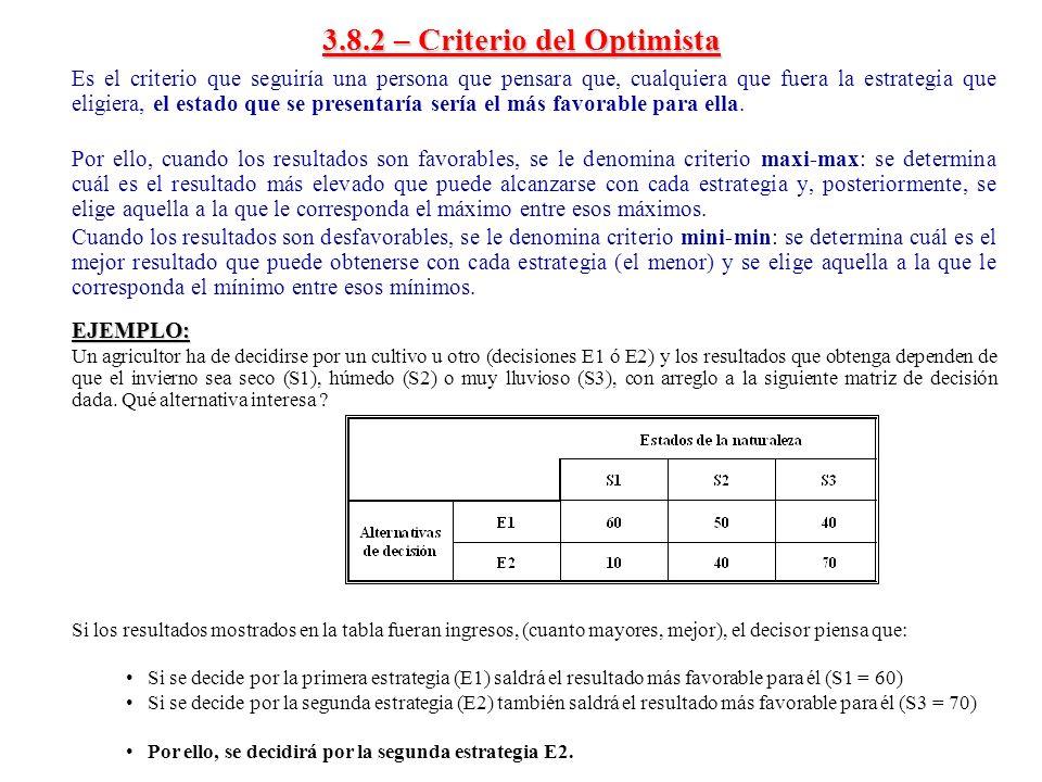 3.8.2 – Criterio del Optimista