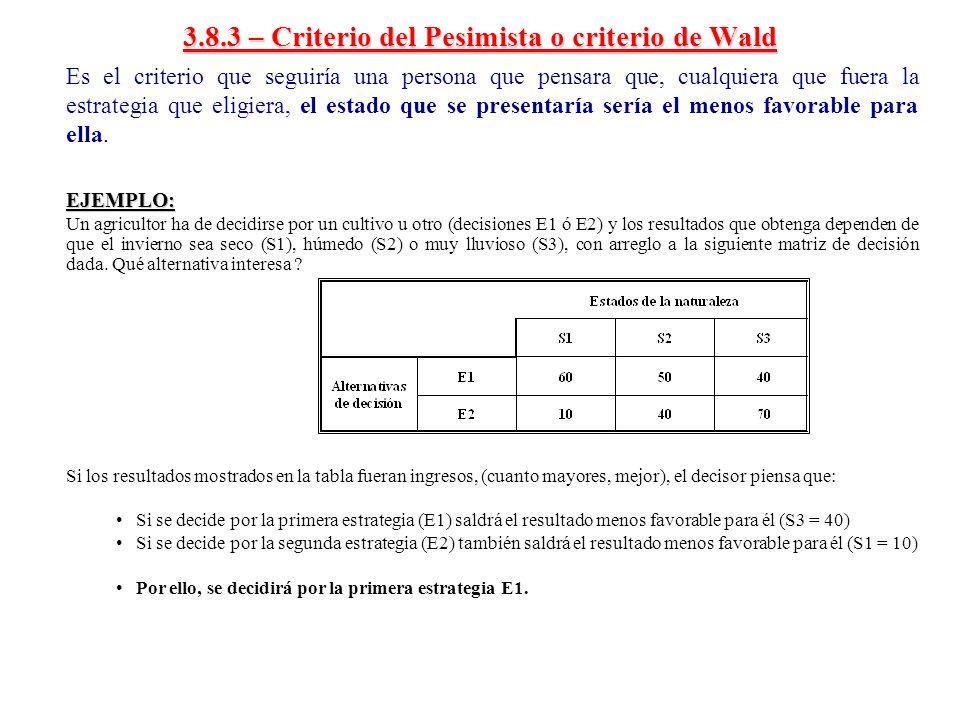 3.8.3 – Criterio del Pesimista o criterio de Wald